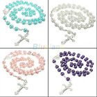 LONG ROSARY CHAIN IMITATE PEARL BALL BEADS PENDANT NECKLACE DROP CROSS WOMEN