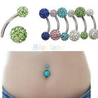 1X Navel Belly Button Bar Ring Barbell Rhinestone Crystal Ball Body Piercing BF0