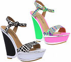 Ladies Anne Michelle Cut Out Wedge High Heel Platform Sandals Womens Shoes Size