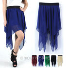 2013 Women Chiffon Bohemian Irregular Hem High-Low Pleated Elastic Skirts Dress