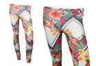 NEW CREAM AND RED FLORAL PATTERNED LEGGINGS