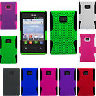 For LG Optimus Dynamic L38c MESH Hybrid Silicone Rubber Skin Case Phone Cover