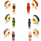 Lady Fashion Jewelry Square Cut Yellow Gold Gp Hoop Earrings