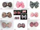 BRAND NEW Rhinestone Diamote Crystal Colorful Bow HAIR CLIPS