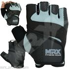 WEIGHT LIFTING GLOVES GYM FITNESS TRAINING GLOVES COWHIDE LEATHER MRX SKY BLACK