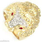Huge Lion Head Two Tone Crystal Stones Gold EP Mens Ring
