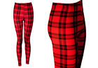 NEW RED AND BLACK TARTAN PRINT LEGGINGS SIZE 8-20