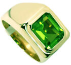 Green Peridot Stone Solitaire Gold EP Mens Ring
