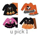 HALLOWEEN BABY GIRLS 2 PIECE OUTFIT TOP BOTTOMS DRESS-UP COSTUME INFANT CHILDREN