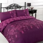 Kensington Plum / Purple Reversible Duvet Quilt Cover Bedding Bed Set
