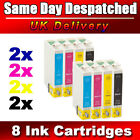 8 COMPATIBLE EPSON D SX DX BX SERIES INK CARTRIDGES FOR STYLUS INKJET PRINTERS