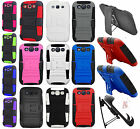 For Samsung Galaxy S III S3 Combo Holster HYBRID KICKSTAND Rubber Case Accessory