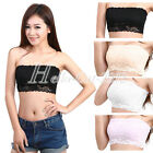 Sexy Women Lady Floral Lace Stretch Strapless Bandeau Bra Boob Tube Top Cropped