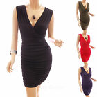 Trendy Fully Lined Sleeveless V-Neck Ruched Sides Party Sheath Mini Dress