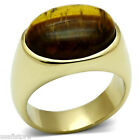 Mens Brown Tiger Cat Eye 18kt Gold Plated Stainless Steel Ring