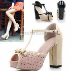 Fashion Cute Ribbons Women Shoes T Mary Jane Platforms Heels Sandal High Chunky