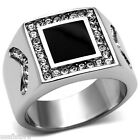 Black Center With Crystal Stones Silver Stainless Steel Mens Ring