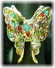 (R-16)  RHINESTONE BUTTERFLY COCKTAIL RINGS (ADJUSTABLE)