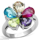 Ladies Pear Shape Multi Color  Stones White Gold Plated Flower Ring