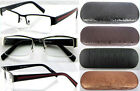 R415 Semi-Rimless Metal Reading Glasses+Case +75+100+200+225+250+275+300+350+400