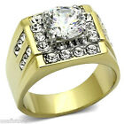 4.7ct Clear CZ Stone Two Tone Gold EP Mens Stainless Steel Ring