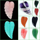 70mm Large carved gemstone leaf pendant focal bead Wholesale 2 3/4""