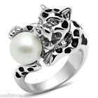 Ladies Cheetah With Pearl Ball White Gold Plated Ring