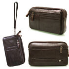 New Mens Brown Leather Business Small Handbag Bag Wallet Purse-094
