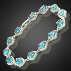 Charming! Pear Cut Topaz 18K White Gold Plated Gp Tennis Bracelet
