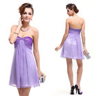 Ever Pretty Strapless Ruffles Rhinestones Purples Short Cocktail Dress 03526