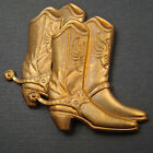 2 vintage brass stampings pair of cowboy boots with spurs great patina 38mm