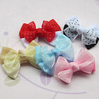 20pcs New Ribbon Bows Flowers Appliques Crafts Wedding Decor Upick Color E60