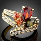 Austrian Ruby Citrine Peridot Crystal Cocktail Ring 18K Yellow Gold Plated