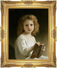 William Bouguereau Framed Canvas Art Print The Story Book Painting Reproduction