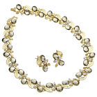 Weddng Party Jewelry Oval 18K Gold Plated Set Gray Necklace Earring For Dress
