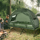 Outdoor 1-person Folding Tent Elevated Camping Cot w Air Mattress Sleeping Bag