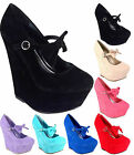 Ladies High Heels Platform Party Bow Strap Wedges Pumps Mary Jane Shoes Size 3-8