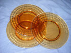 AMBER DEPRESSION GLASS SALAD PLATES(7 available)