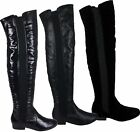 LADIES WOMENS THIGH HIGH STRETCH CALF FLAT BOOTS WIDE LEG OVER KNEE SHOES SIZE