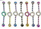 1 Stripe Anodized Industrial Bar With Twist 14g 35mm -  Choose Colour #T3