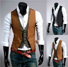 Handsome Mens Tops Casual Slim Skinny Vests Fake Two-piece Clothes Waistcoat M24