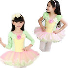 Girl Ballet Dress Kids Tutu Party SZ 3-8 Costume Dance Leotard Short Long Sleeve