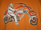 New No Tags Delta T-Shirt  Man On Motorcycle Orange Use Drop Down Box