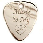 "Engraved Silver Plated 1mm ""Music is"" Guitar Plectrum Pick, Chain, Personalised"