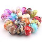 New Various Colors Flower Round Charms Acrylic European Beads Fit Bracelets