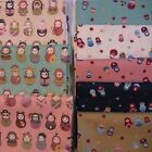 Russian, Matryoshka, Babushka Dolls Fabric 1 METRE on Cream Green Pink or Blue.