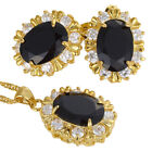 Xmas Gifts Costume Jewellery Oval Cut Pendant Necklace Earrings Jewelry Set