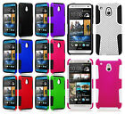 For AT&T HTC ONE MINI MESH HYBRID Hard Silicone Rubber Skin Case Phone Cover