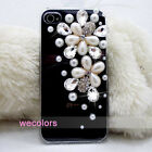 Pearl Flower Crystal Diamond Lady Luxury Handmade Cover Case For Iphone 4 4S 4G