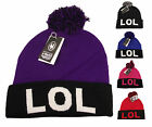 LOL Bobble Beanie Hat, Designer Pom Pom Hats Beanies, Limited Edition